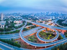 aerial view of city interchange in tianjin